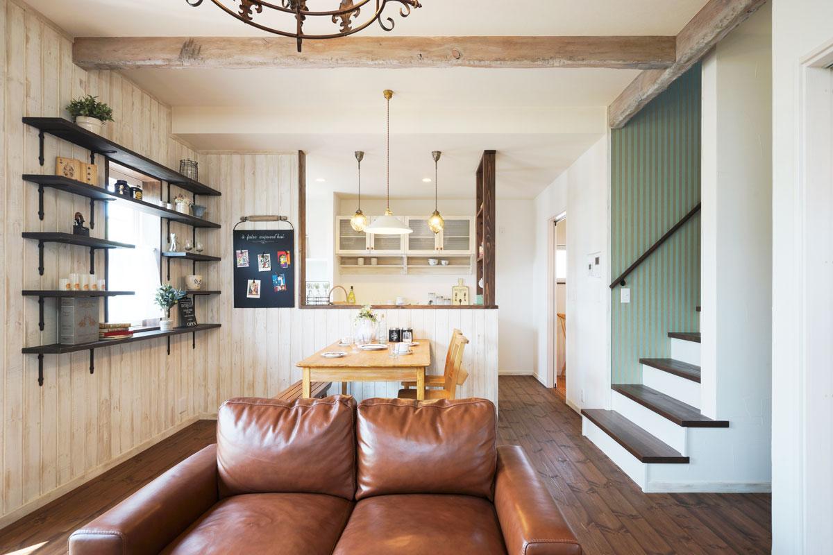 シャビーシックなフレンチスタイルのMamanの家。34Nタイプ。ダイニング【酒田鶴岡で新築、デザイン住宅、リノベーションの工務店 ナチュラル工房伊藤住宅】
