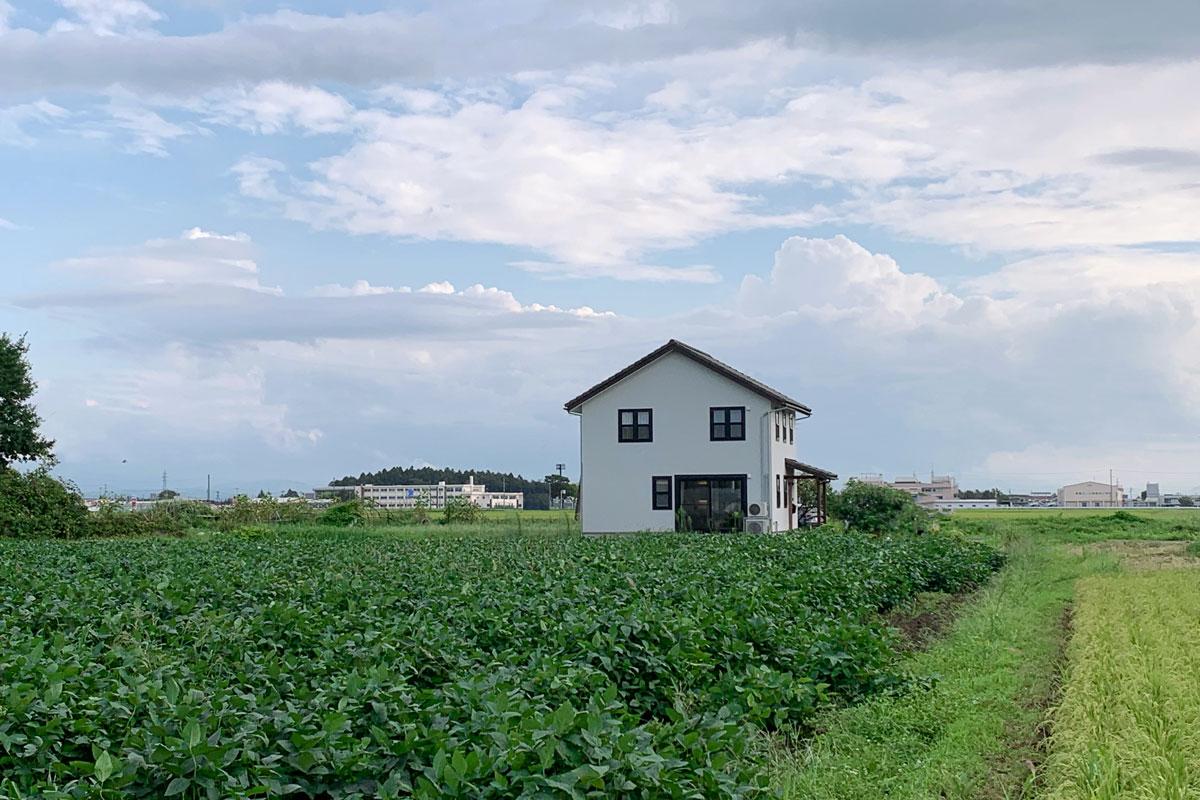 田園に佇むブルーグレーの塗り壁が綺麗な30Sタイプのお家。外観【酒田鶴岡でヨーロッパテイストのおしゃれでかわいいカフェのような新築Mamanの家を手がける工務店 ナチュラル工房伊藤住宅】