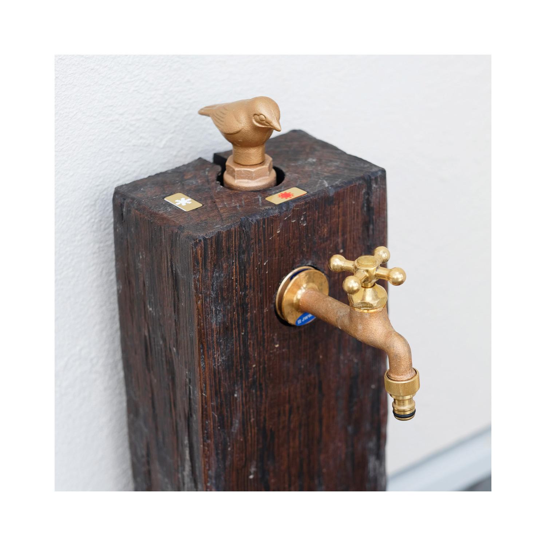 元栓が小鳥のデザインになった外水栓